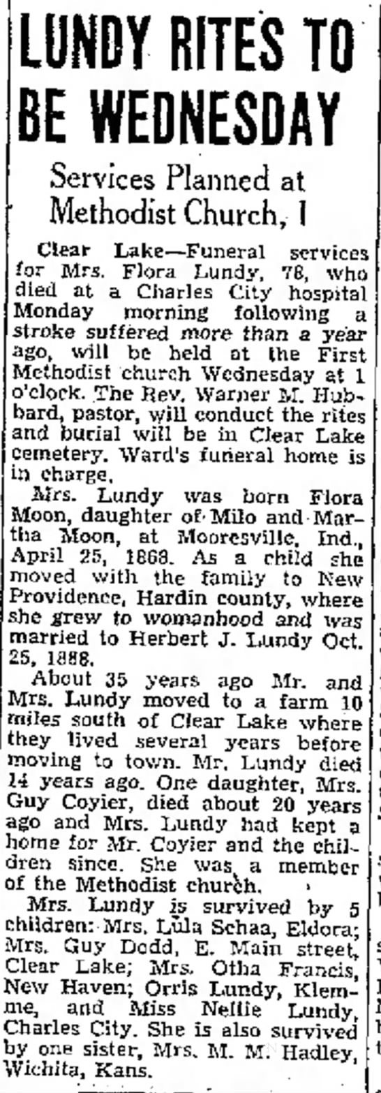 Flora (Moon) Lundy Obit - entertained at with Donaldson consolation at be...