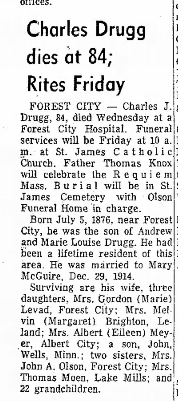 Grandpa Charlie - offices. Charles Drugg dies at 84; Rites Friday...