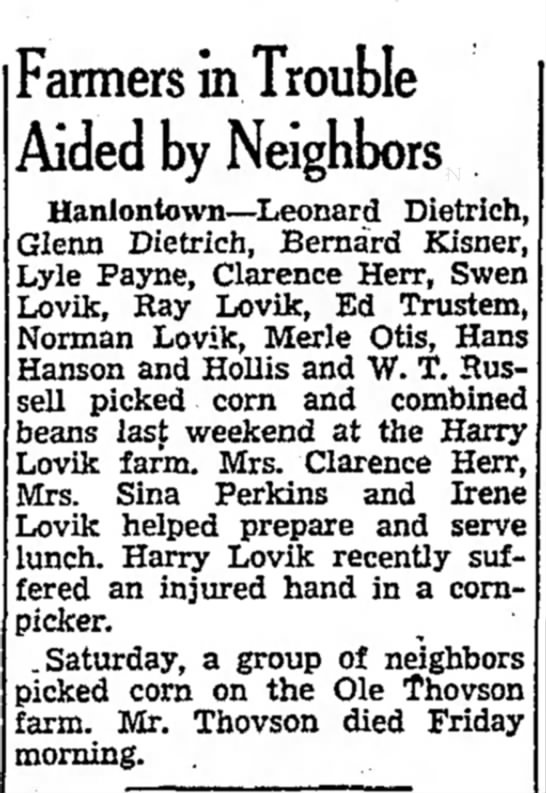 Harry Lovik - Farmers in Trouble Aided by Neighbors - V J Y J R E O G N J R . Wednesday being...