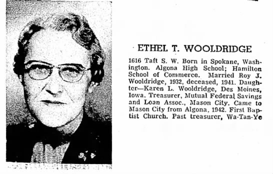 Globe Gazette, August 31, 1957, Page 60 - ETHEL T. WOOLDRIDGE 1616 Taft S. W. Born in...