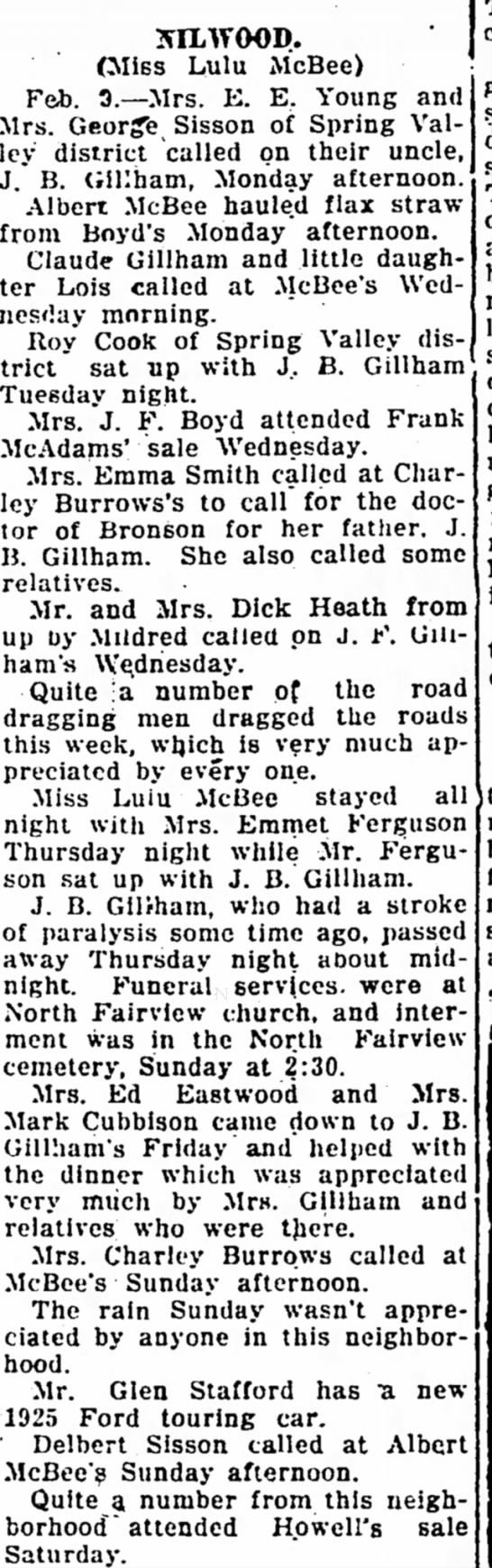 References to John B. Gillham death - Iola Register 10 Feb 1925 Page 3 Col 2