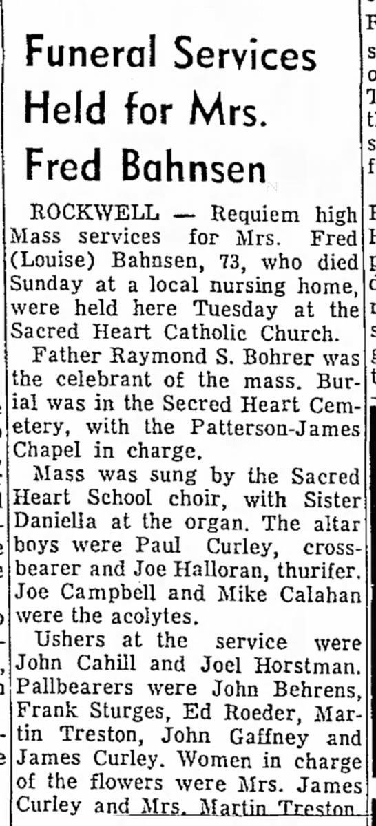 Ms. Fred Bahnsen Obit - Mason Robert organ. in vice the Wednesday March...