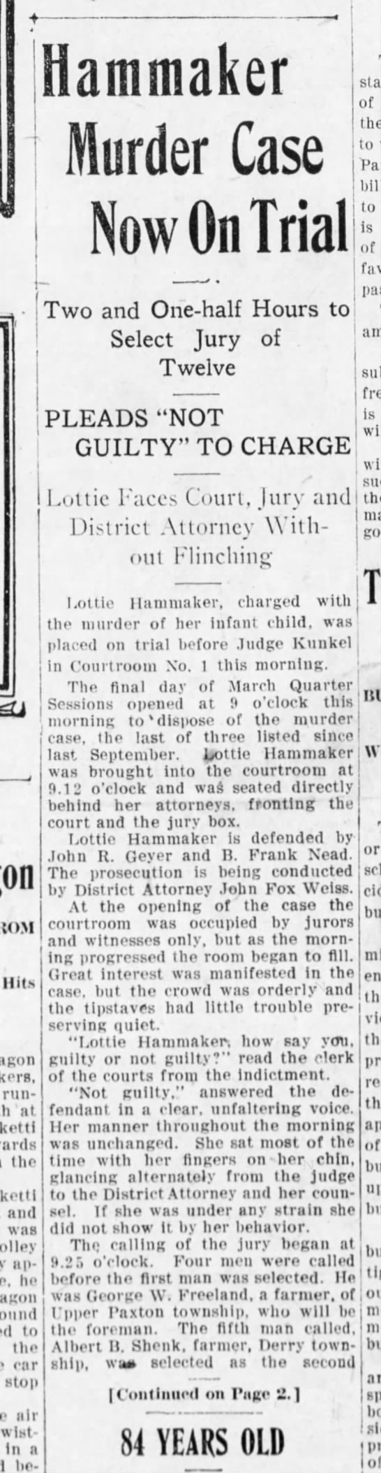 1909 lottie hammaker trial killing infant pg 1 - f was trolley ap - he wagon KOM Hits wagon...