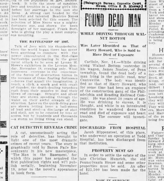 1907 November 14 Hbg Telegram - exceptionally many kind An in work, occur - -...