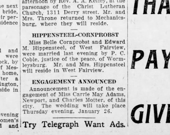 1906 january 12 Hbg Telegraph - next bride, permanent residence and were by...