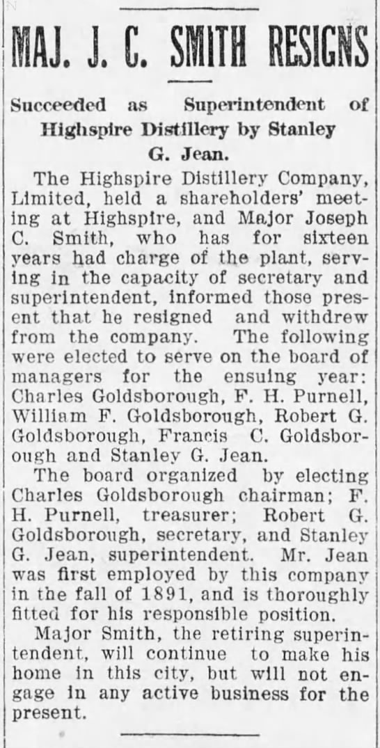 Distiller superintendent resigns, 22Jan1906 - 1J. J. C. SMITH RESIGNS Succeeded as...