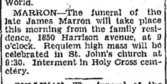 James Marron funeral announcement Feb 3,1932 - World. MABBON—The Juneral of tho ate James...