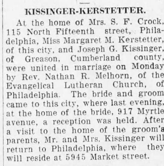 Marriage of Margaret M. Kerstetter and Joseph G. Kissinger - KISSIXGER - KERSTETTER. At the home of Mrs. S....