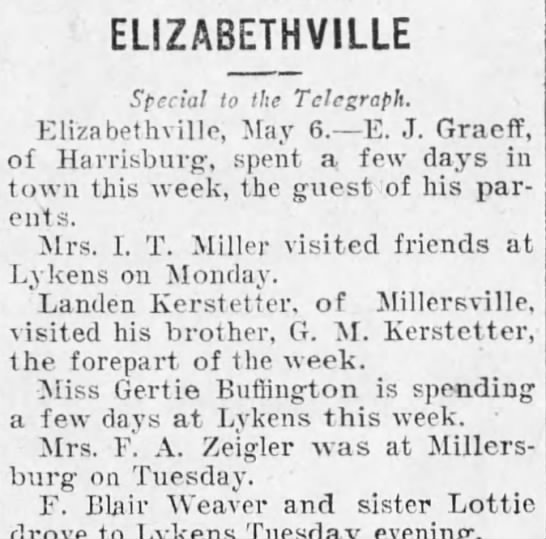 G.M. and Lauden Kerstetter, brothers - ELIZABETH VILLE Special to the Telegraph. Eliza...