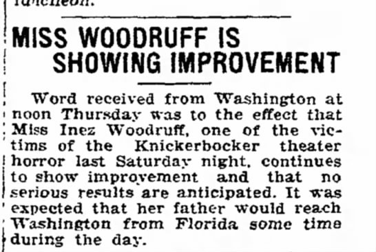 Inez Woodruff - MISS WOODRUFF IS SHOWING IMPROVEMENT local been...