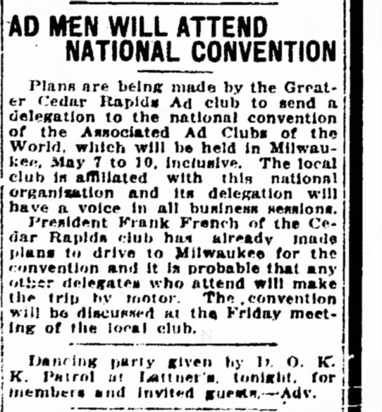 French to ad club meeting in Milwaukee, 1922 - AD MN WILL ATTEND NATIONAL CONVENTION Plans are...