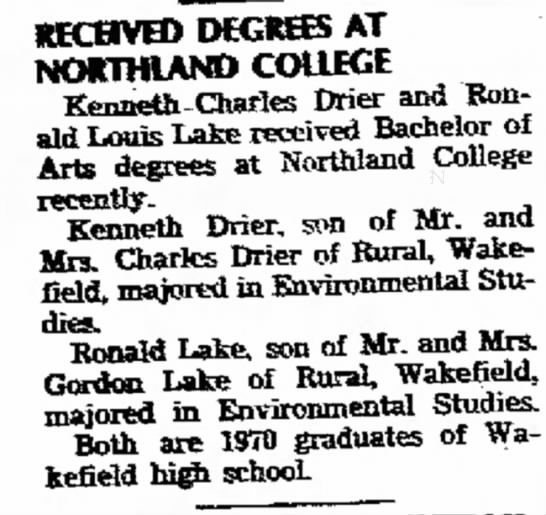Ken college - RECHVED DEGREES AT Kenneth Charles Drier and...