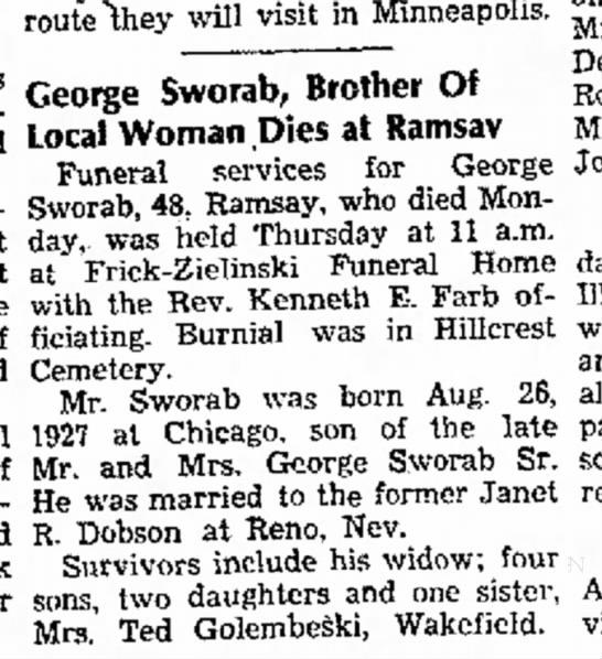 George Sworab Jr death notice - ^^^ will ^H m Minneapolis. ^ _ DeMachi and...