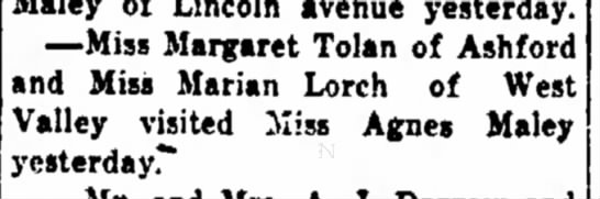 Marion Lorch - Maley of Lincoln avenue yesterday. —Miss...