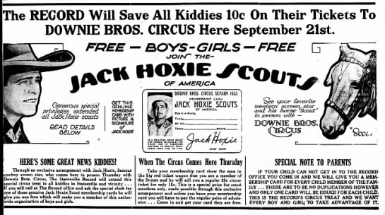 Sparks Hoxsie Major Ad 9-19-1933 - Will Save All Kiddies lOc On Their Tickets To...