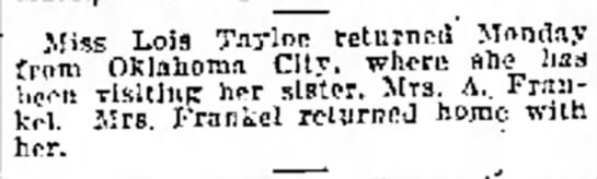 - co- and ana Miss Lois Tayloe returned Monday...