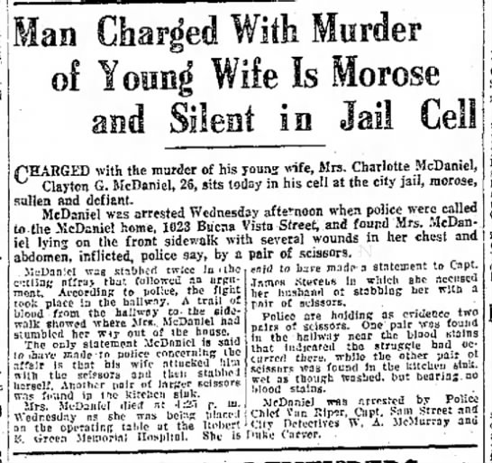 Clayton McDaniel 30 Nov 1922 - of Young Wife Is Morose fEARGED with the murder...