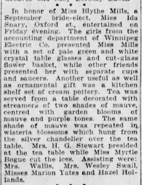 Winnipeg Tribune, 25 Aug 1927, Page 6, Society. - In honor of Sliss Blythe Slllls, a September...