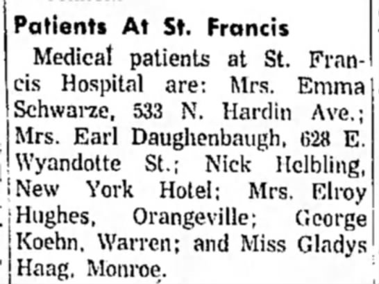 Patients at St Francis Hospital - L I !t u ^ es - Orangeville; George K°«!hn....