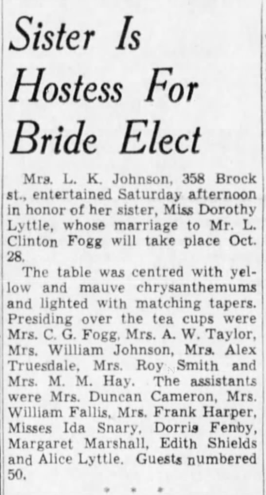 Winnipeg Tribune, 24 Oct 1939, Page 8, Women News Section.