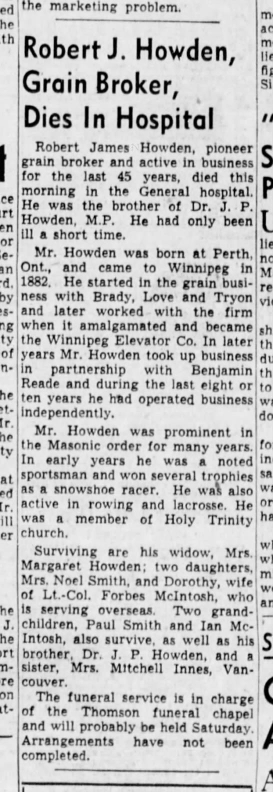 Winnipeg Tribune 12 August 1943 - the by of the the J. the ,xnt marketing...