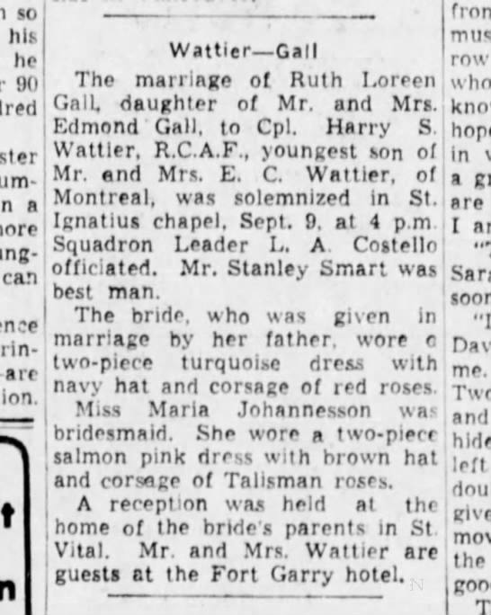 Harry Wattier wedding 23 Sept 1943 - so hik he 90 in a more from rpti't sorrow? who...
