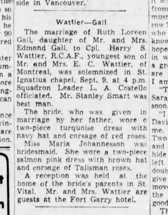 Harry Wattier Wedding 23 sep 1943 - so hik he 90 a from rpti't sorrow? who know...