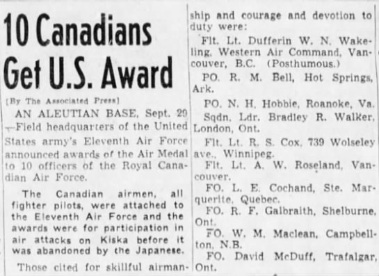 Sqn 14 Air Medal Winners - 10 Canadians Get U.S. Award ship and courage...