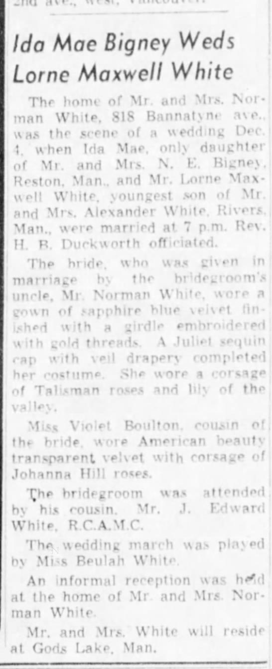 Bigney white wedding 1939 - Ida Mae Bigney Weds Lome Maxwell White Thr holm...