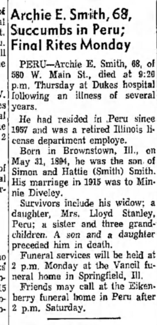 Archie Smith died 1962 - 2 Archie E. Smith, 68, Succumbs in Peru; Final...
