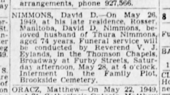 David D Nimmons Winnipeg Tribune 27 May 1949 - - St. of on arrangements, phone 927,506....
