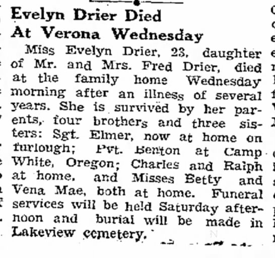 Evelyn  - to Mrs. Evelyn Drier Died At Verona Wednesday...