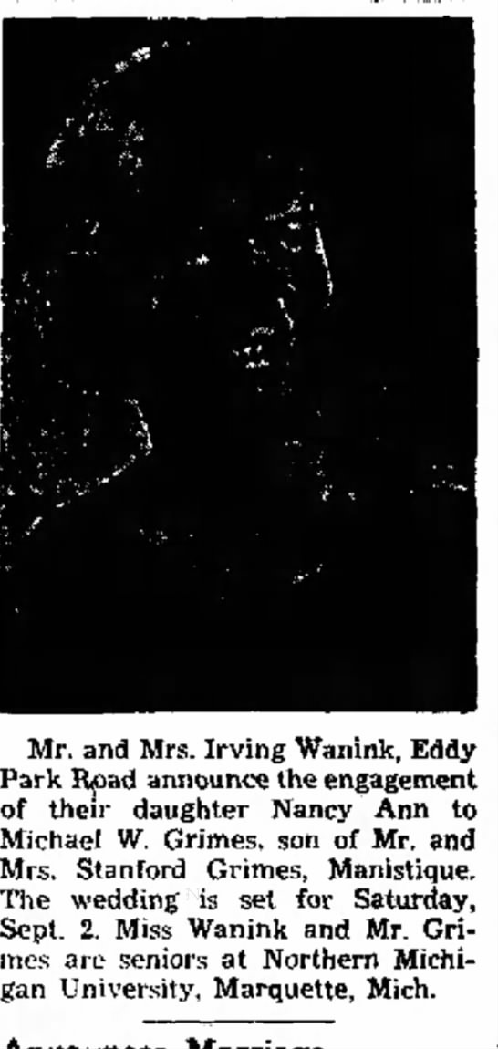Nancy engaged - 14. all and Mr. and Mrs. Irving Wanink, Park...