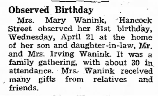 "Grandma 81 - Observed Birthday Mrs. Mary Wanink, ""Hancock..."