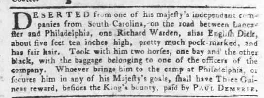 1755 Deseter South Carolina Independant Companies - DESERTED from one cf his majefty's indeperidaut...