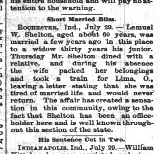 Lemuel Shelton marriage info 1892. - - ) pay no at tention to the warning. ' ' Short...