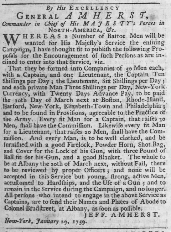 Add for batteau men 1759 Philidelphia - By His Excellency, General A M H E R S ?Y...