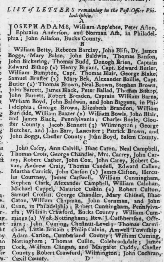 A John Cann is listed in Philadelphia in 1764. - - LIST of LETTER S remaining in the PeJt -...