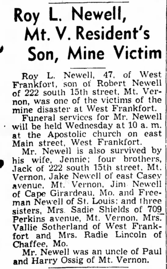 Roy Newell death notice