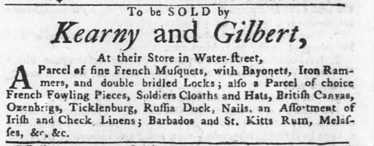 1761 Soldier Cloaths for sale Philidelphia (French ?) - To be SOLD by Kearny and Gilbert At their Store...