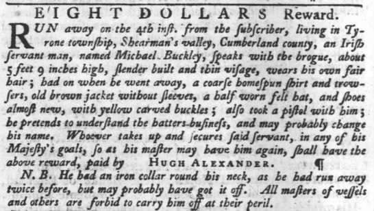 Hugh Alexander ad for runaway servant