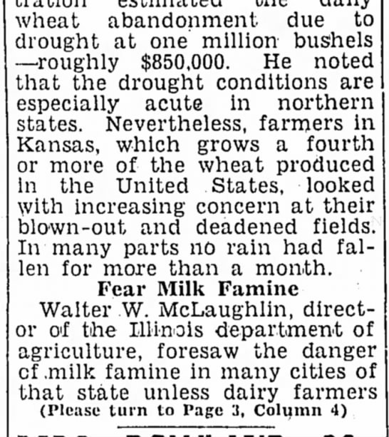 May 1934 mil famine illinois - wheat abandonment, due to drought at one...