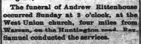 funeral of Andrew Rittenhouse Nov 22 1983, funeral was 19th - The funeral of Andrew Rittenhouse occurred...