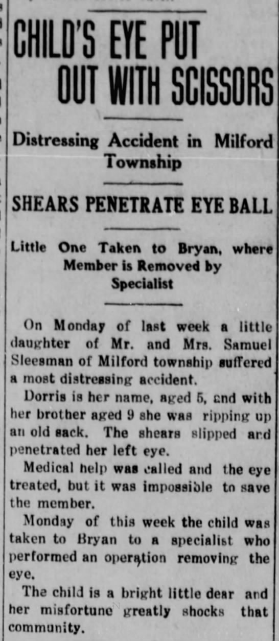 Doris Sleesman-lost eye in accident - CHILD'S EYE PUT OUT WITH SCISSORS Distressing...