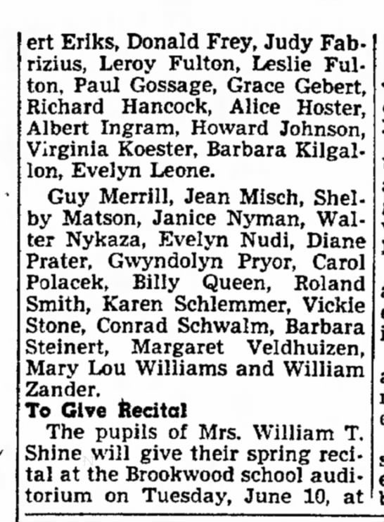 Part 2 Brookwood Graduation 1952 - ert Erlks, Donald Frey, Judy Fabrizius, Leroy...