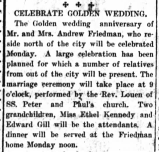 andrew Friedman 50th Annv 14 Jan 1917 - CELEBRATE GOLDEN WEDDING. The Golden wedding...