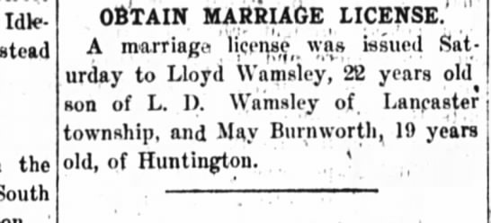 Wamsley/Burnworth marriage license 10 april 1917 - Idle - instead the South OBTAIN MARRIAGE...