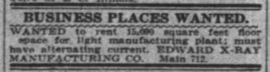Indianapolis News 2 18 1919 pg 21 - BUSINESS PLACES WANTED. WANTED to rent livo...