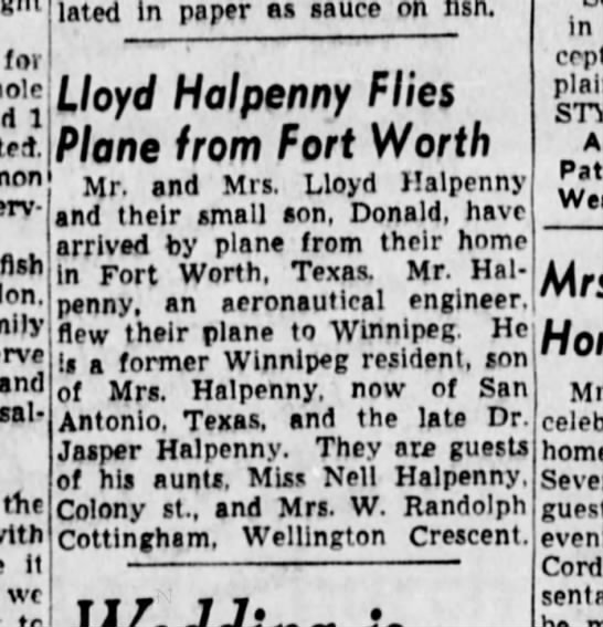 Dad flying to Winnipeg - for accumulated In paper as sauce on rlsh. t...