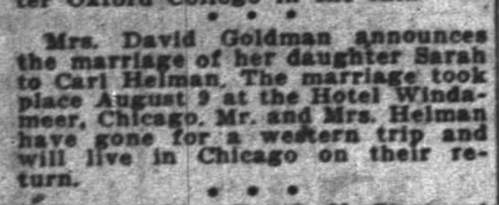 "Indianapolis News 19 Aug 1926 p10 col1 - . 1 . . ' ' .' ' : '"": Mra. David Goldman'..."